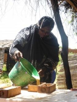 Woman making soap